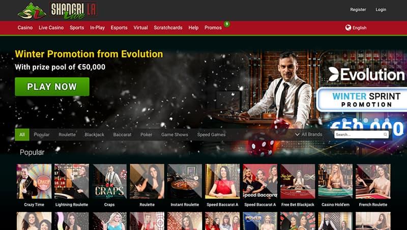 shangri la live casino interface screenshot