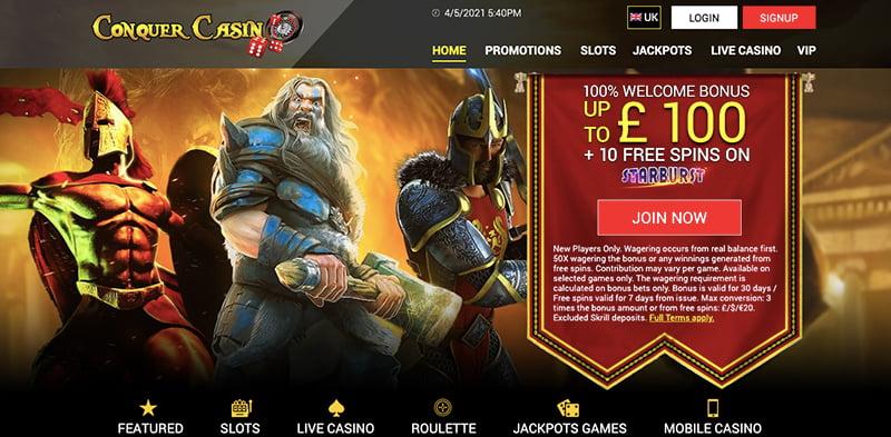 conquer casino online screenshot interface