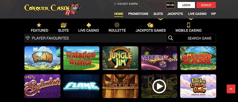 conquer casino online screenshot games